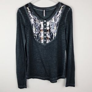 Free People | Sequined Henley Burnout Long Sleeve